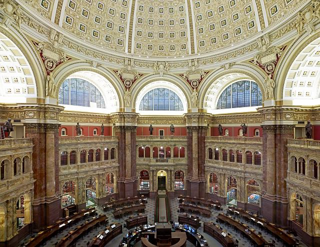 [Main Reading Room. View from above showing researcher desks. Library of Congress Thomas Jefferson Building, Washington, D.C.]