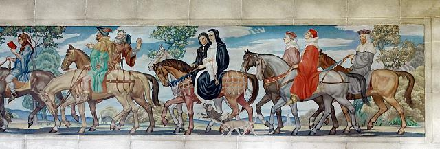 [North Reading Room, west wall. Detail of mural by Ezra Winter illustrating the characters in the Canterbury Tales by Geoffrey Chaucer. Library of Congress John Adams Building, Washington, D.C.]