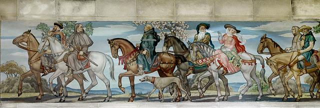 [North Reading Room, east wall. Detail of mural by Ezra Winter illustrating the characters in the Canterbury Tales by Geoffrey Chaucer. Library of Congress John Adams Building, Washington, D.C.]