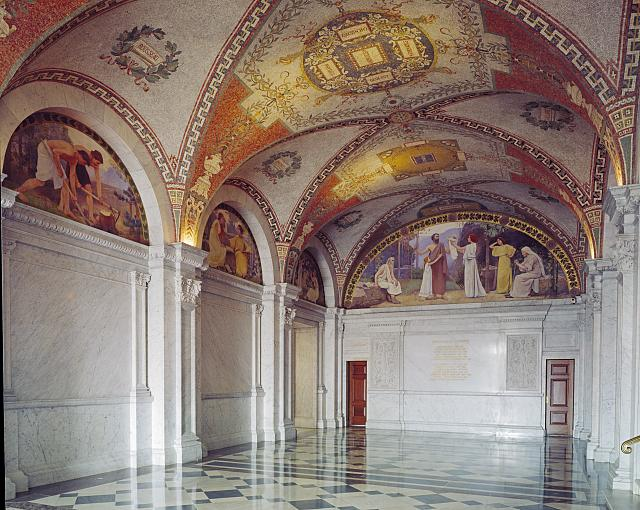 [North Corridor, Great Hall. Mosaic ceiling and Family mural in lunette at end of corridor, with Labor, Study, and Recreation murals on the left from the Family and Education series by Charles Sprague Pearce. Library of Congress Thomas Jefferson Building, Washington, D.C.]