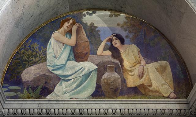 "[North Corridor, Great Hall. ""Rest"" mural in lunette from the Family and Education series by Charles Sprague Pearce. Library of Congress Thomas Jefferson Building, Washington, D.C.]"