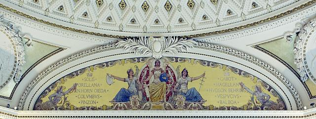 [Second Floor, Southwest Pavilion. Discovery mural by George W. Maynard in the Pavilion of the Discoverers. Library of Congress Thomas Jefferson Building, Washington, D.C.]