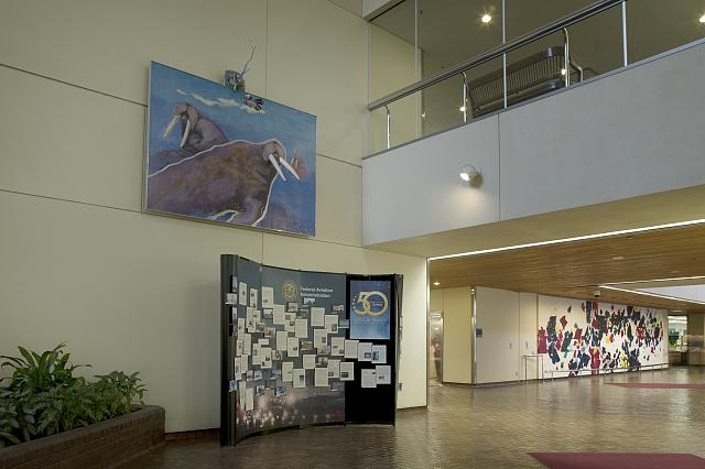"Painting ""Chignik Rose"" located by the interior stairway of the Federal Building and U.S. Courthouse, Anchorage, Alaska"