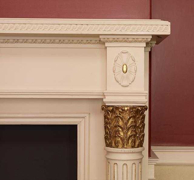 Truman study, fireplace detail, Blair House, located across from the White House, Washington, D.C.