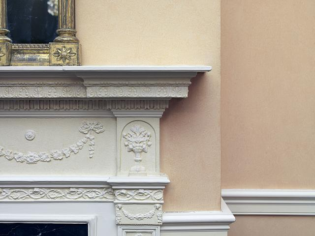 Fireplace detail in the Library, Blair House, located across from the White House, Washington, D.C.