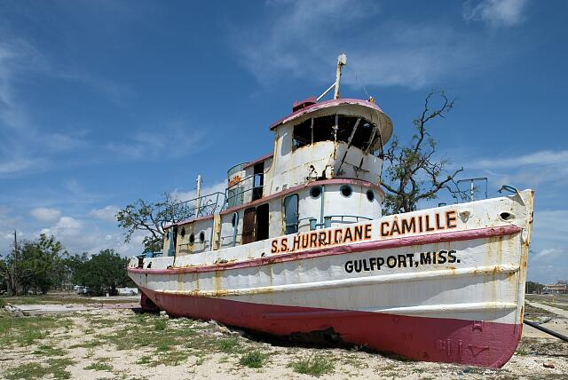 S.S. Hurricane Camille after Hurricane Katrina, Gulfport, Mississippi