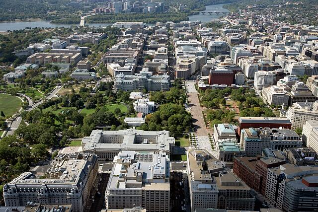 Aerial view of the White House and Old Executive Office Building, Washington, D.C.