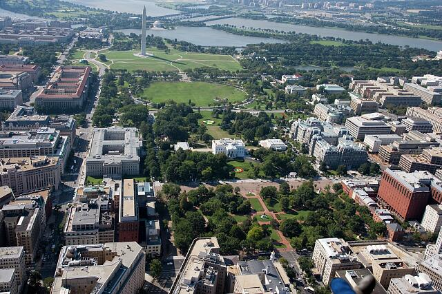 Aerial view of Lafayette Park and Washington Mall, Washington, D.C.