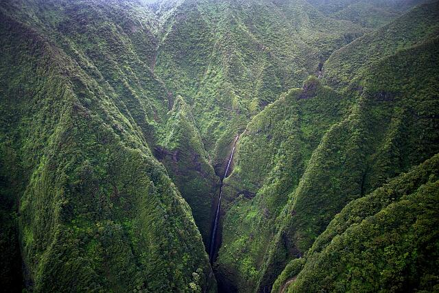Waterfall in the mountains of Hawaii