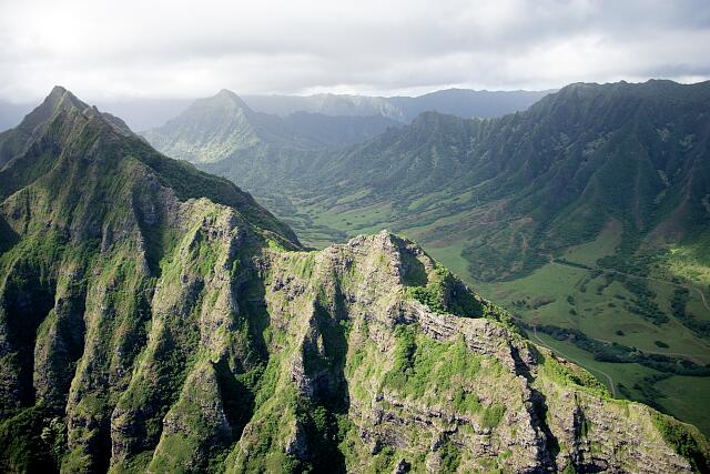 Aerial view of peaks and valleys, Hawaii