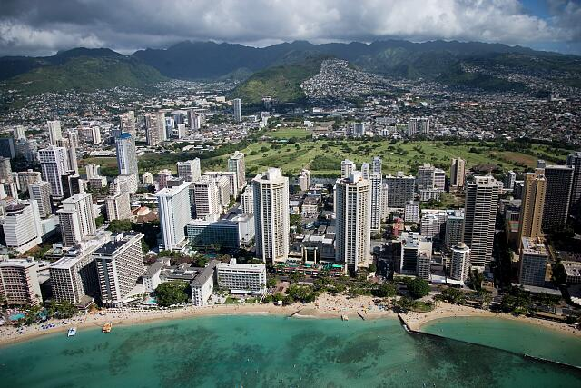 Waikiki Beach aerial, Oahu, Hawaii