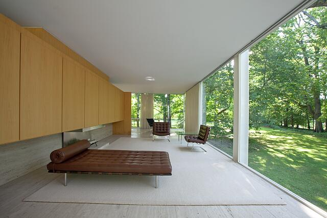 Interior view, living room, the Farnsworth House, Plano, Illinois