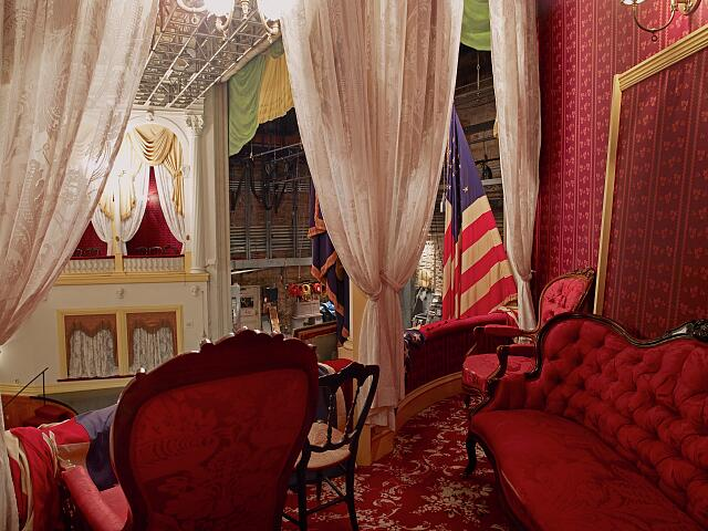 Interior of the box at Ford's Theatre where Abraham Lincoln was assassinated, Washington, D.C.