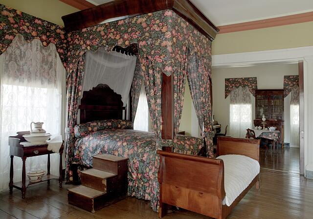 Interior bedroom in Shadows-on-the-Teche Plantation, New Iberia, Louisiana
