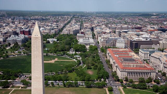 Aerial view of the Washington Monument, the White House and the city of Washington, D.C.