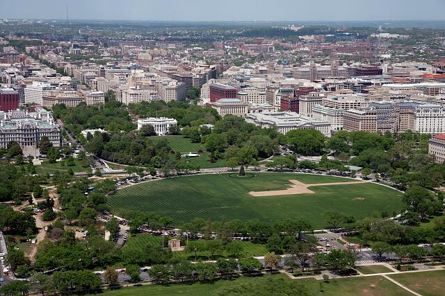 Aerial view of the White House and the city of Washington, D.C.