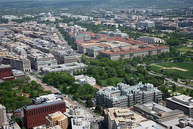 Aerial view of White House, Old Executive Office Building, Pennsylvania Avenue and the U.S. Capitol, Washington, D.C.