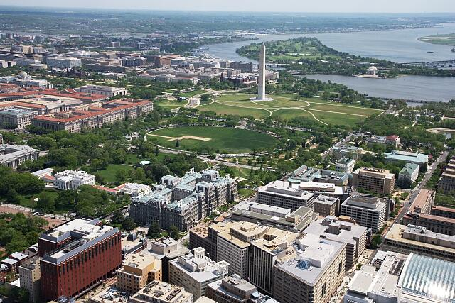 Aerial view of White House, Old Executive Office Building, Washington Monument and Jefferson Memorial, Washington, D.C.