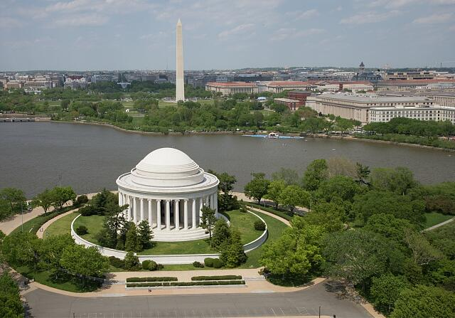 Aerial view of Jefferson Memorial and Washington Monument, Washington, D.C.