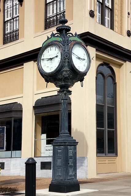Historic clock on Fountain Square in Montgomery, Alabama
