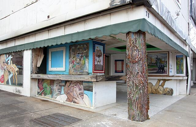 Murals are painted on abandoned building on lower Dexter Avenue in Montgomery, Alabama
