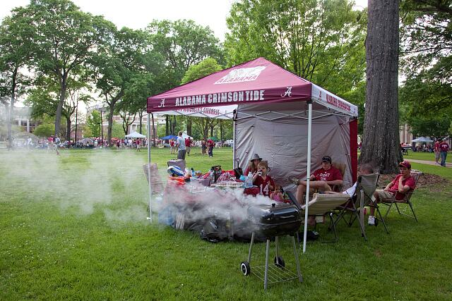Tailgate parties are all over the lawn at the University of Alabama A-Game scrimmage, Tuscaloosa, Alabama