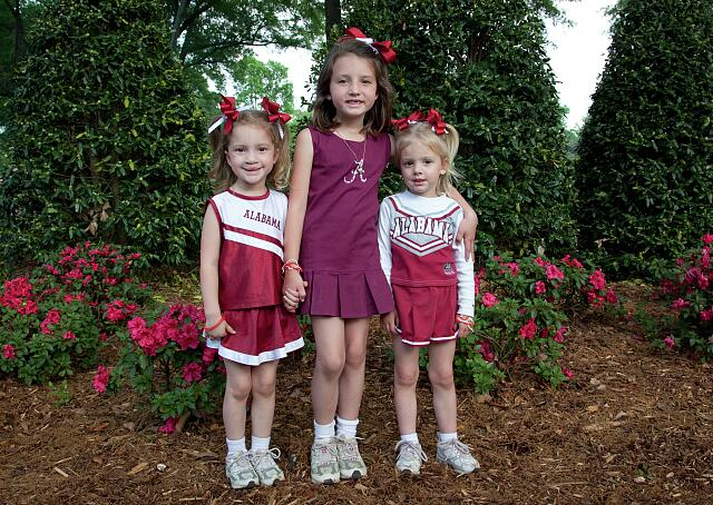 Clara, Hallie and Jana Ryals come all dressed like fans for the A-Game at Crimson Tide scrimmage, University of Alabama, Tuscaloosa, Alabama