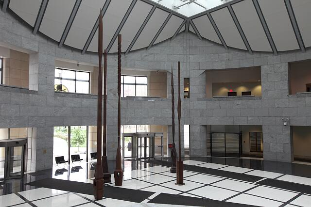 "Steel sculpture ""The Sentinels of Justice"" at the Charles Evans Whittaker U.S. Courthouse, Kansas City, Missouri"