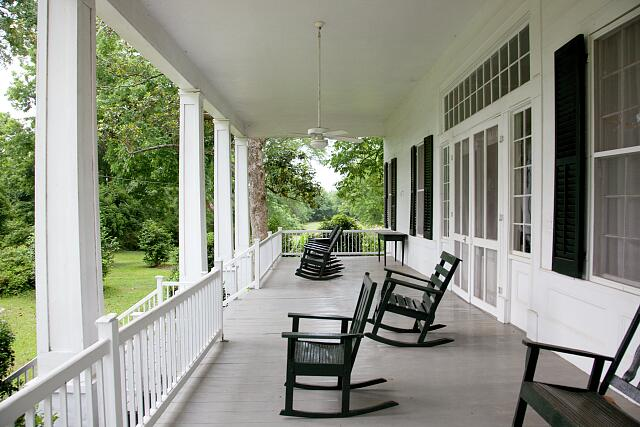 Carolina porch on historic building located in the town of Oak Hill, Alabama