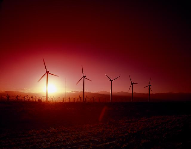 Wind turbines at sunset, California