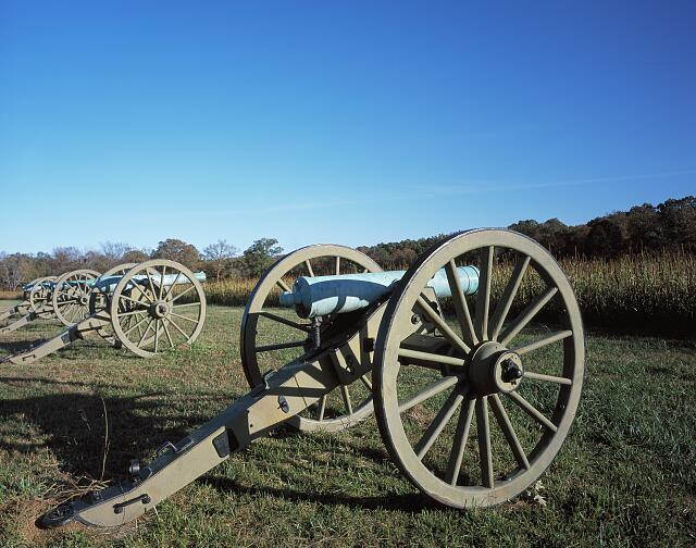 "Union Battery before the ""Peach Orchard"" at Shiloh National Military Park in Tennessee"