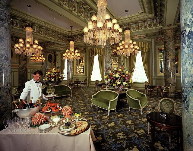 Crystal Room in the newly restored historic Willard Hotel in Washington, D.C. during the 1980s