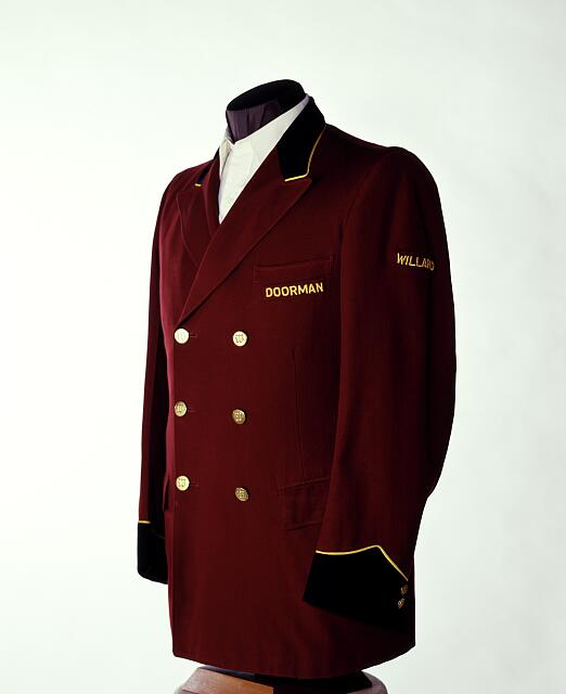 Willard Hotel doorman's jacket that was worn in the early 1900s. Washington, D.C.
