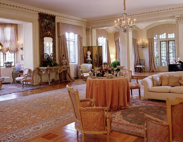 "Living room of the 30-room villa once called ""Estabrook,"" which now serves as the residence of the Ambassador of Italy, Washington, D.C."