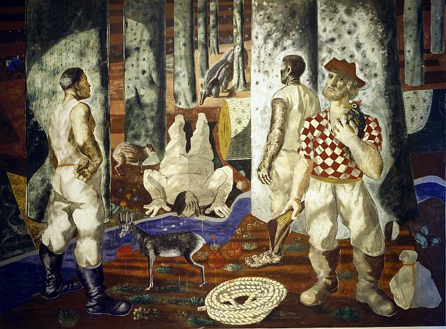"Mural painting ""Entry into the Forest"" by Candido Portinari, on the vestibule wall of the Hispanic Reading room, Library of Congress, Thomas Jefferson Building, Washington, D.C."