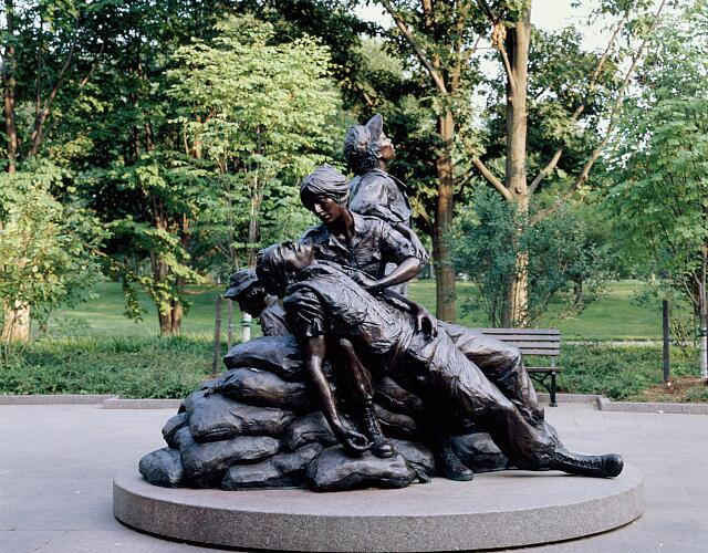 The first memorial placed in the nation's capital honoring women's military service is on the grounds of the Vietnam Veterans Memorial in Washington, D.C.