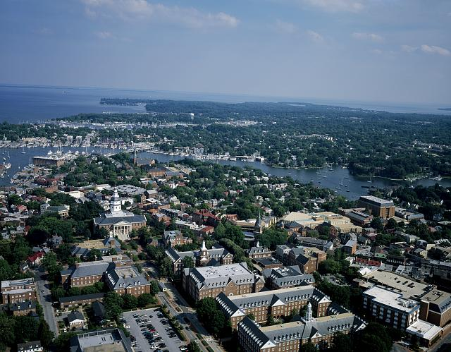 [Aerial view of Annapolis, Maryland]