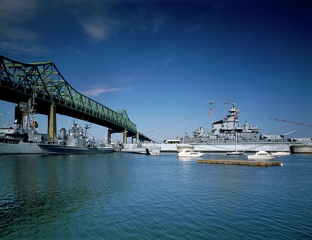Battleship Cove, showing the USS Massachusetts and the USS John F. Kennedy. Fall River, Massachusetts