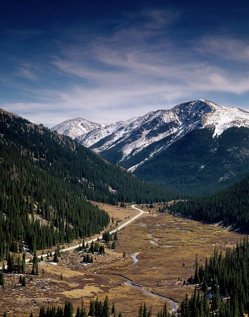 Independence Pass, almost 13,000 feet high, through the Rocky Mountains' Sawatch Range along the Continental Divide in Colorado