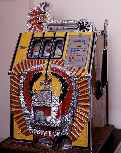 Vintage slot machine at the Casino Legends Hall of Fame at the Tropicana Hotel and Casino in Las Vegas, Nevada