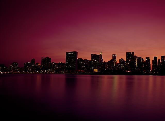 Dusk view of Manhattan Skyline, New York, New York