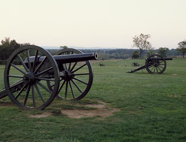 Cannons at Manassas National Battlefield Park, site of the first and second Civil War Battles of Bull Run in Virginia