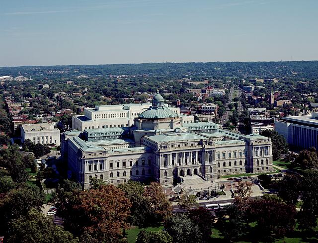 View of the Library of Congress Thomas Jefferson Building from the U.S. Capitol dome, Washington, D.C.