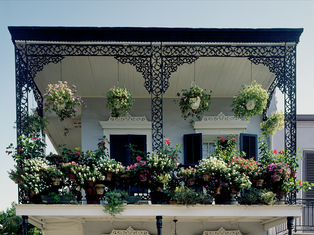 French quarter balcony with classic ironwork new orleans for What is a french balcony