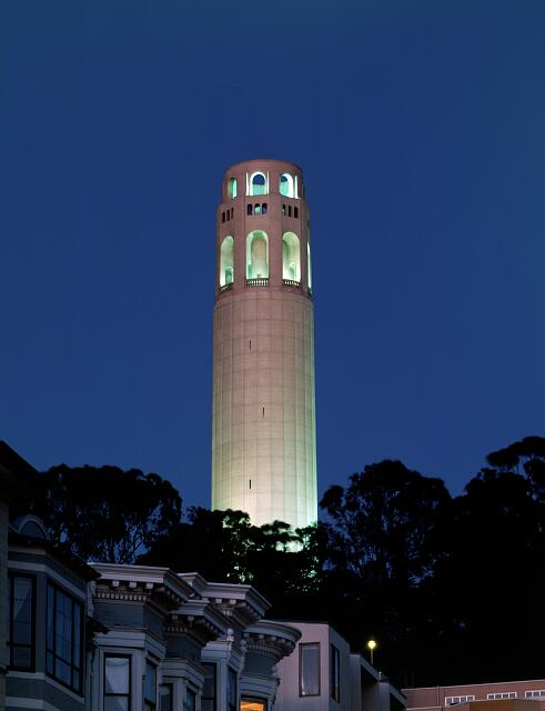 Coit Tower at dusk, San Francisco, California