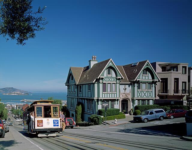 Cable car nears the top of Hyde Street, San Francisco, California