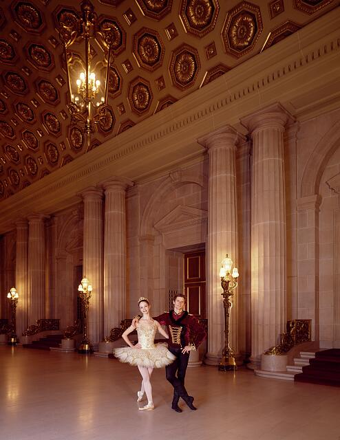 Dancers limber up in the lobby of War Memorial Opera House, San Francisco, California