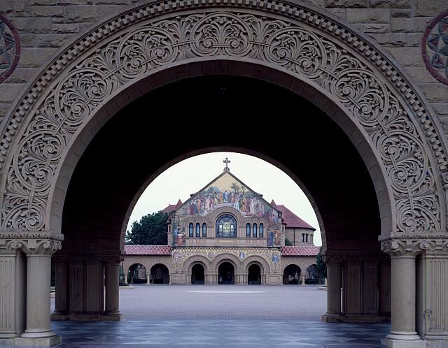 Stanford University's 1903 Memorial Church is seen through the university's elaborate main gate in Palo Alto, California