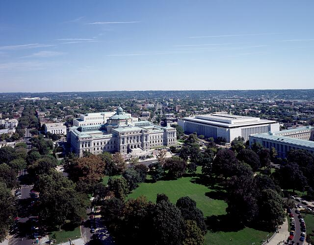 Aerial view of Washington, D.C. from the U.S. Capitol Dome, showing two Library of Congress buildings: the Thomas Jefferson Building (left) and the James Madison Building