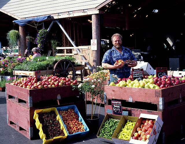 "Bob ""Sully"" Sullivan displays his produce at the Olympia Farmers' Market in Olympia, Washington, the state's second-largest, behind Pike Place in Seattle"